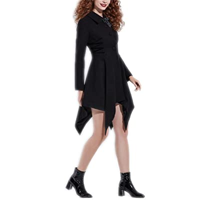 Black A-Line Asymmetrical Waist Outwear Straps Single Breasted Fashion Female Coats