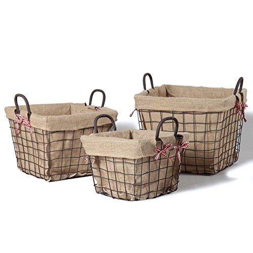 3 of Joveco Rustic Iron Baskets Dark Brown Home Decor (Retangle) For Sale