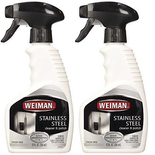 Weiman Stainless Steel Cleaner & Polish Trigger Spray - Protects Appliances From Fingerprints and Leaves a Streak-free Shine - 12 fl. Oz. ( 2 Pack)