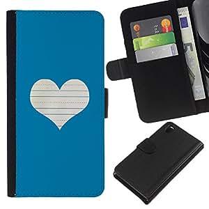 WINCASE (No Para Z3 plus+ / Z3 compact) Cuadro Funda Voltear Cuero Ranura Tarjetas TPU Carcasas Protectora Cover Case Para Sony Xperia Z3 D6603 - blanco amor corazón cuaderno