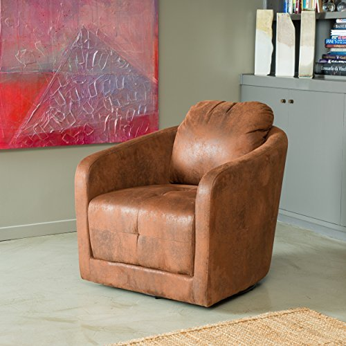 Bernhoft | Aged Microfiber Swivel Club Chair | in Distressed Brown Brown Microfiber Club Chair