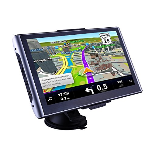 CARMATE GPS Navigator for Truck and Car with Bluetooth 7-Inch Touch Screen and America Map Updates with Sun Visor