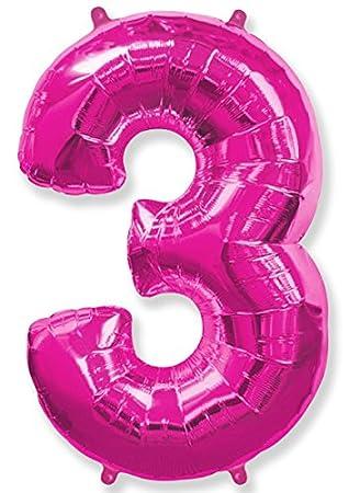 FIESTADEKOR (Oferta Antes 5,95€) Globo número 3 para Fiestas de cumpleaños, XXL Medida 100 cm, inflándolo con Helio flotará Durante 5/6 días. (Fucsia)