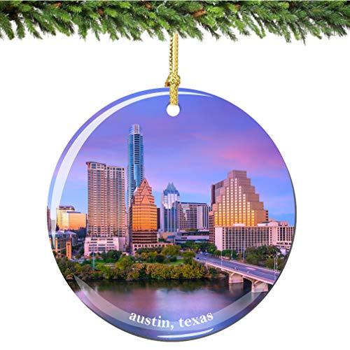 City-Souvenirs Austin Christmas Ornament Porcelain 2.75 Inch Double Sided Austin Texas Christmas Ornament (Christmas Austin Ornament)