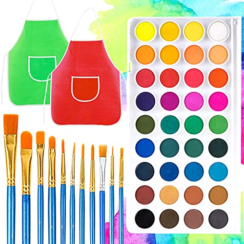 3 otters Watercolor Paint Set, Kids Painting Apron Painting with Palette Brushes Painting Pen 36 Premium Paints for Kids Adults and Beginner Artists