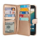 NextKin LG Google Nexus 5X Case, Premium PU Leather Dual Wallet Folio TPU Silicone Cover, 2 Large inner Pockets Double flap Privacy, 9 Card Slots Holder Magnetic Closure - Gold