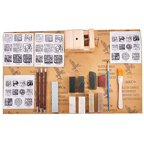 PH PandaHall Seal Stamp Stone Carving Tool Chisels/Knife Set Kit, 8pcs Chinese Seal Stamp Stone, Wood Seal Bed Stamp Carved Bed for Carving Stamp - Custom Seal Chinese