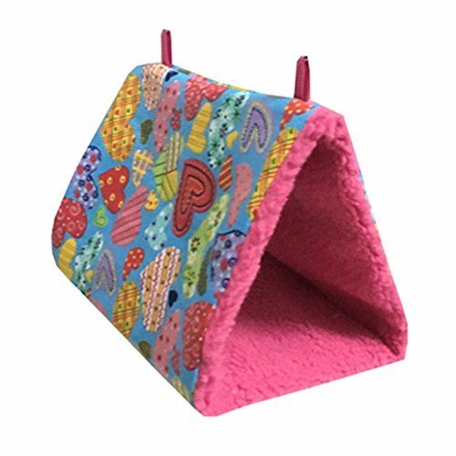Shuohu Birds Hammock Hanging Cave Cage Plush Hut Tent Bed Triangle Cotton Tent Nest House size S (Heart)