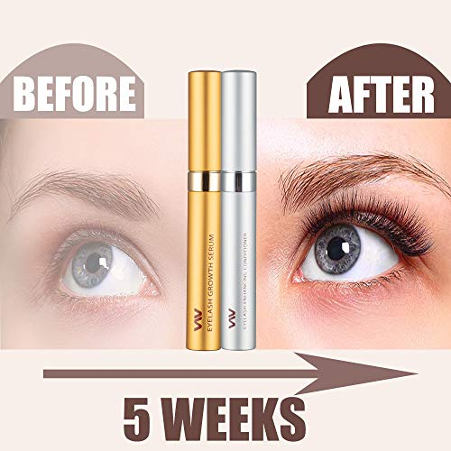 Eyelash Growth Serum Kit, Eyelashes & Eyebrows Booster - Essential Serum (5 mL) & Enhancing Conditioner (5 mL) for stronger, Thicker Eyelashes & Brows