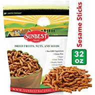 SUNBEST Narrow Sesame Sticks in Resealable Bag, Kosher Certified (2 Lb)