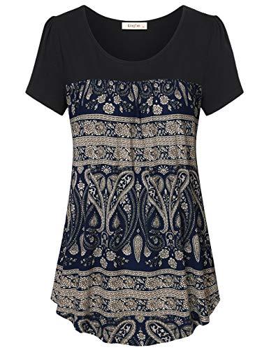 - Lingfon Women's Short Sleeve Pleated Front Stitching Tunic Shirt Top(XL,Multi Deep Blue)