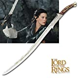 """S4004 Movie Lord of the Rings LoTR Hadhafang Elven Arwen sword gold engravings with black leather scabbard 40.7"""""""