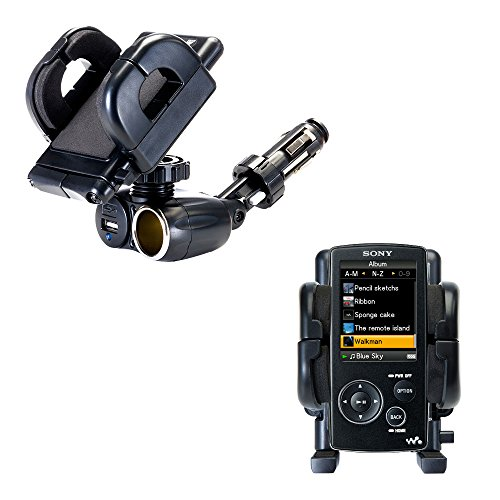 A815 Usb - 2 in 1 USB Port and 12V Receptacle Mount Holder for the Sony Walkman NWZ-A815 Keeps Your Device Secure in Any Car or Truck