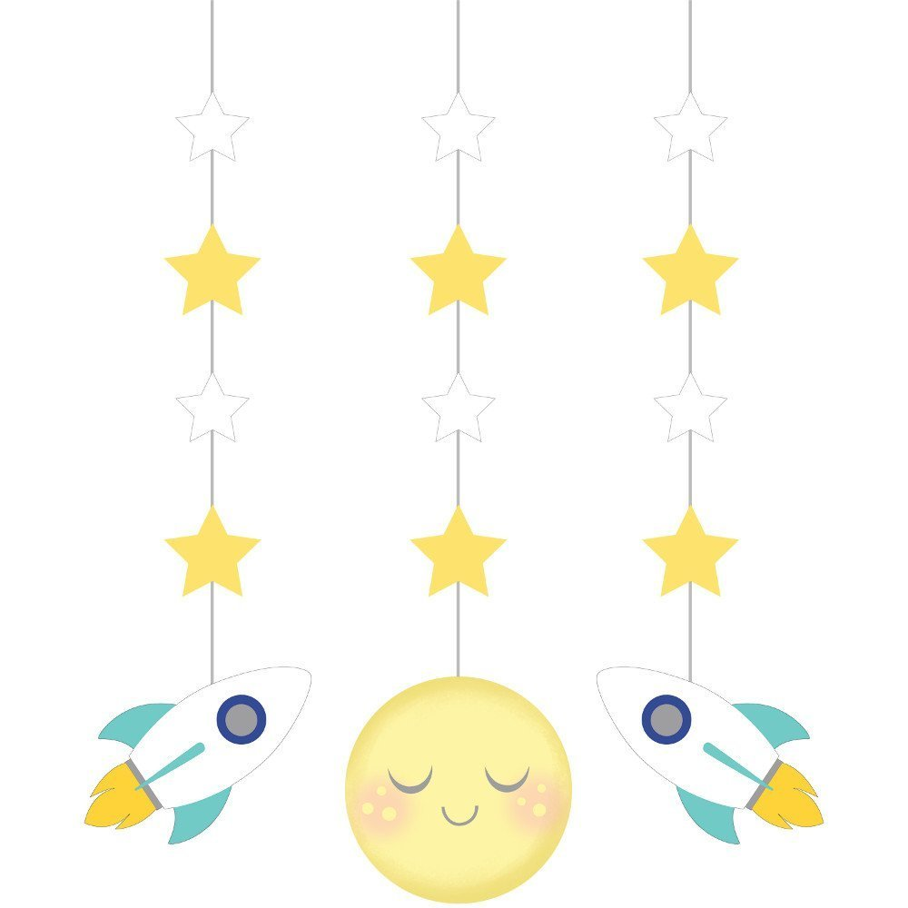 to The Moon and Back Party Supply Pack: Jointed Banner, Dizzy Danglers, and Centerpiece (Variety Pack Bundle) by Cedar Crate Market (Image #2)