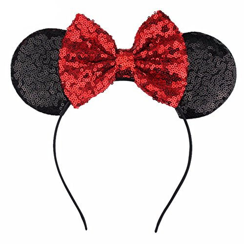 YanJie YanJie Butterfly Sequin Mouse Ear Hairband - Glitter Hair Accessories Party Favor Decoration for Children & Adults -