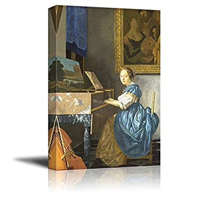 Astonishing Design, Original Creation, Lady Seated at a Virginal by Johannes Vermeer Print Famous Oil Painting Reproduction
