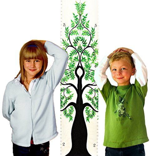 Growth Chart Art | Tree of Life Wooden Height Chart Pair for Measuring Twins, Siblings, Grand-Kids | Tree of Life Green Leaf Pair