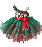 Leho Girls' Multicoloured One Shoulder Beads Cupcakes Pageant Dresses 2/2T US Green