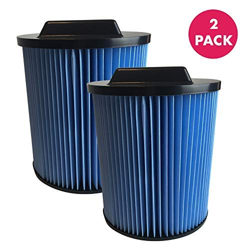 Think Crucial Replacement Air Filters Compatible With Rigid Vacuum Cartridge Filter Part VF5000-19.7 x 16.7 x 2.4 - Perfect For 6 to 20 Gallon Wet, Dry Vacuums - Models WD0671, WD0970 Bulk 2 Pack
