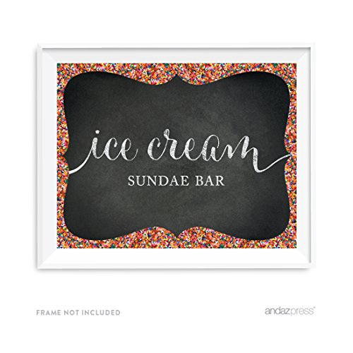 Andaz Press Chalkboard Rainbow Sprinkles Party Collection, Party Sign, Ice Cream Sundae Bar, 8.5x11-inch, 1-Pack, Wedding Birthday Baby Shower Dessert Table Signage