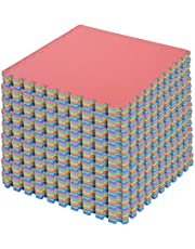 HOMCOM 54pcs Soft EVA Foam Interlocking Floor Tiles Exercise Mat Non-Skid Workout Area 209sq.ft Water-Resistance,Multi-Color