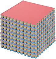 HOMCOM 54pcs Soft EVA Foam Interlocking Floor Tiles Exercise Mat Non-Skid Workout Area 209sq.ft Water-Resistan