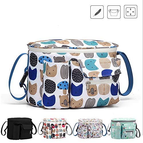 Stroller Organizer Bag,Super-ele,Deep Cup Holders, Extra-Large Storage Space,Instant Access Wipe Pocket, Universal Strap Fit, Large Storage Space for Diapers & Phone (Mushroom Blue) ()