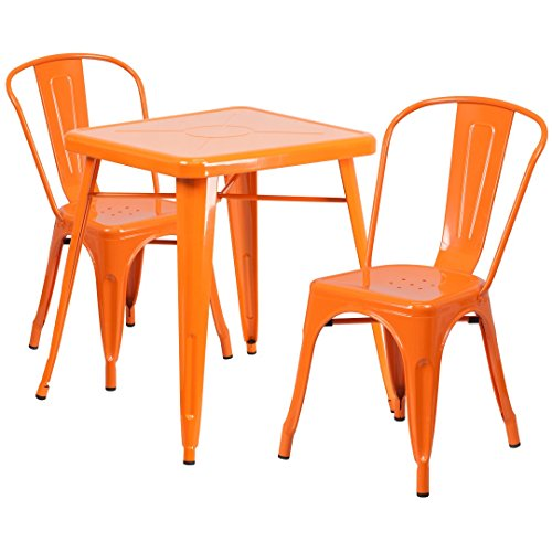MFO 23.75'' Square Orange Metal Indoor-Outdoor Table Set with 2 Stack Chairs