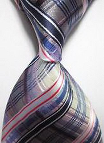 [Jacob AleX #47226 Costume Geometric Checked Red Blue JACQUARD WOVEN Necktie] (Little Red Ant Costume)