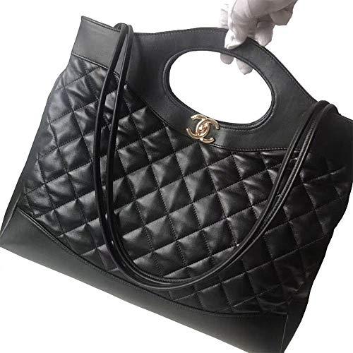 Christmas Gift Black Lambskin Aged Women Shoulder Tote Handbags ()