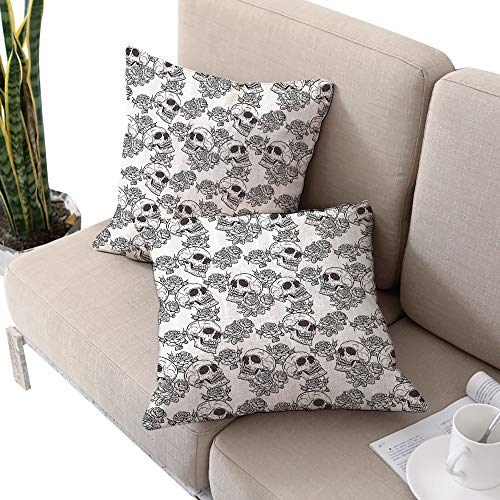 Alexandear Skull Decorations Square futon Cushion Cover,Blooms Retro Otherworld Textured Western Celtic Halloween Horror Image Black White W14 xL14 2pcs Cushion Cases Pillowcases for Sofa Bedroom Car -