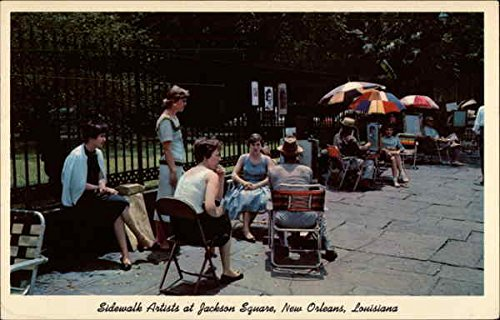 Sidewalk Artists at Jackson Square New Orleans, Louisiana Original Vintage Postcard