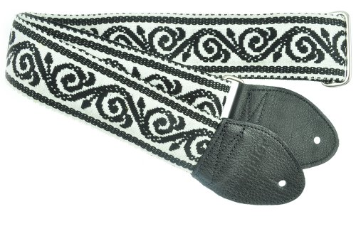 Souldier GS0257BK02BK Custom USA Handmade Scroll Guitar Strap – Black/White