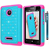 Microsoft Lumia 435 Case, Style4U Studded Rhinestone Crystal Bling Hybrid Armor Case Cover for Microsoft Lumia 435 with 1 Stylus [Teal / Hot Pink]