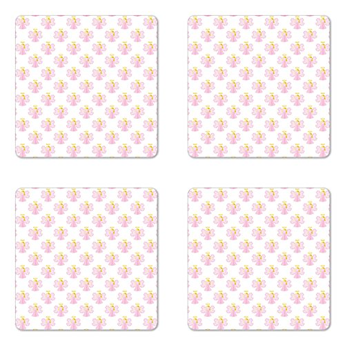 Angel Coaster Set of Four by Ambesonne, Cute Angels Spiritual Wing Girl with Halo Fairy Tale Surreal Kids Cartoon, Square Hardboard Gloss Coasters for Drinks, Baby Pink Earth Yellow (Fairy Wings Club Pink)