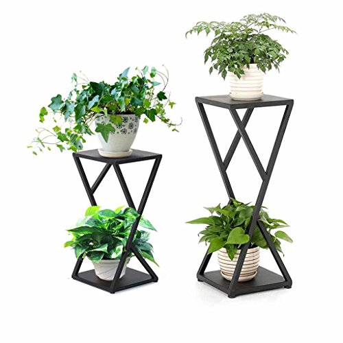 2 Tier Metal Flower Stand Planter Holder Pot Rack Garden Patio Decoration Display Shelf Outdoor Square Tube (Black) (Size : Large) -