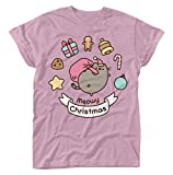 Pusheen Meowy Christmas Girls shirt light pink XL