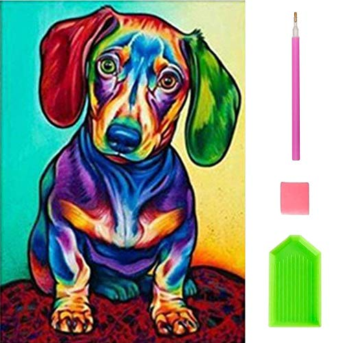 OWAY Diamond Painting Kits for Adults, Colorful Dog 5D Diamond Painting Kits Paint with Diamonds Kits Art Craft for Wall Decor, 12X16inch