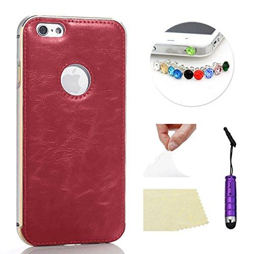 iPhone 6 Plus 5.5 pulgada Funda Case LifeePro Stylish 2 in 1 Patrón de teléfono híbrido Caballo Loco [Anti-rasguños] [Antideslizante] Resistente a los golpes PU Cuero rojo Contraportada + Caja de para Plata