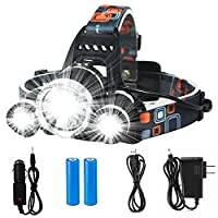LED Headlamp Flashlight--Juzihao 4 Modes LED Headlight 90º Moving Adjustable Super Bright Waterproof Headlight Rechargeable 18650 Headlight Flashlights with Rechargeable Batteries for Outdoor Hiking Camping Hunting Fishing Cycling Running Riding Outdoor Sports (1 Pack)