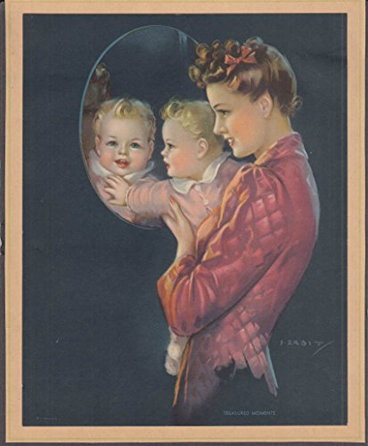 - Jules Erbit Treasured Moments pin-up calendar print 1947 pretty mom & baby