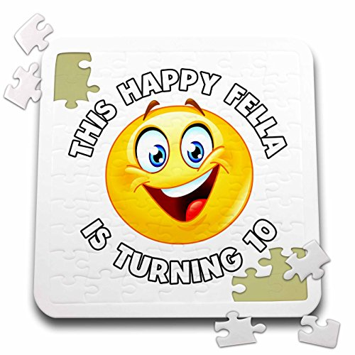 Carsten Reisinger - Illustrations - Fun Birthday This Happy Fella is turning 10 Party Celebration - 10x10 Inch Puzzle (pzl_261532_2) by 3dRose