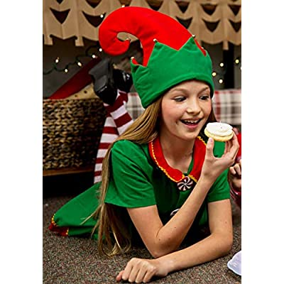 Child Holiday Elf Costume Dress and Hat Elf Costume for Girls: Clothing