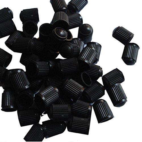 AMA(TM) 100pcs Black Plastic Bicycle Bike Tire Stem Valve Caps Dust Covers (Black)