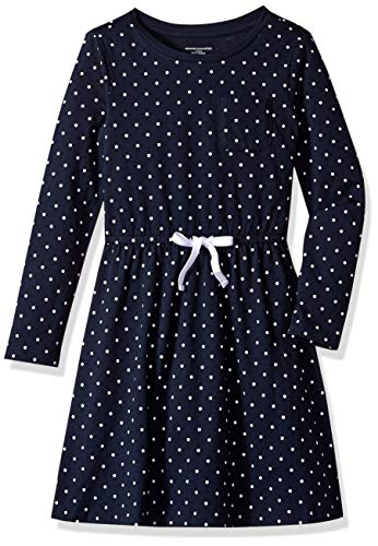 ttle Girls' Long-Sleeve Elastic Waist T-Shirt Dress, navy/white simple dot with white bow, X-Small ()