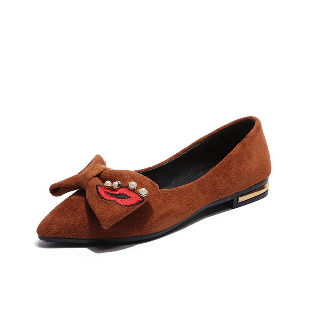 Drew Toby Womens Flats Cute Bow-Knot Pearl Pointed-Toe Beige Brown Cute Shoes