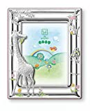 STERLING SILVER Picture Frame GIRAFFE (3.5'' x 5)''. Made in Italy (Blue Back)
