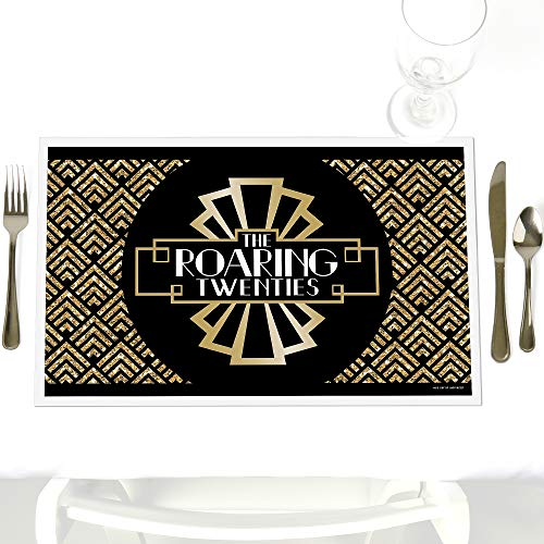 Roaring 20's - Party Table Decorations - 1920s Art Deco Jazz Party Placemats - Set of 12
