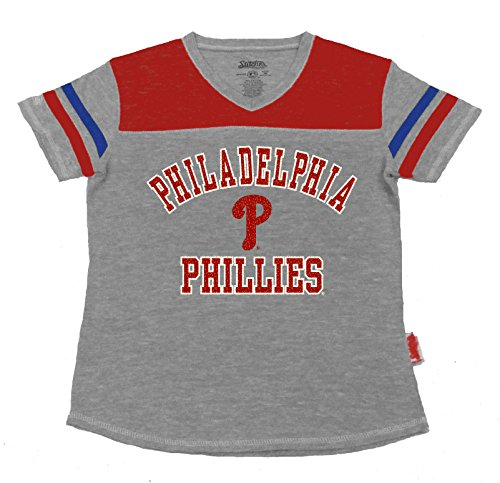 Player Phillies Mlb (MLB Philadelphia Phillies Girl's V-Neck Jersey Top, Grey, Small)