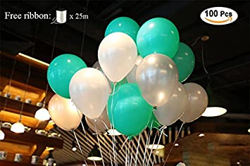 Putwo balloons 100 pack 12 inch tiffany blue and white wedding putwo balloons 100 pack 12 inch tiffany blue and white wedding decorations birthday hen party supplies junglespirit Image collections